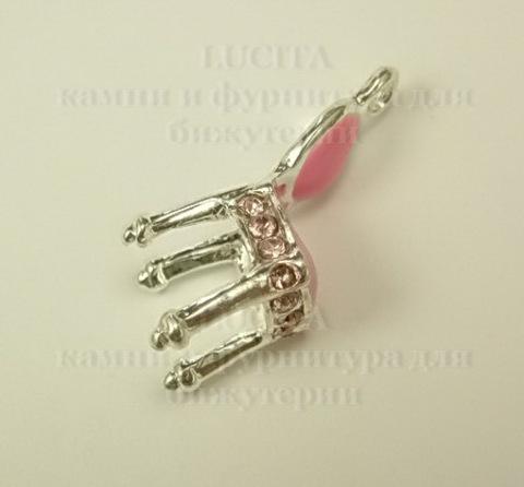 """Подвеска металлическая с эмалью и розовыми стразами  """"Стул"""" (цвет -серебро) 21х9 мм ()"""
