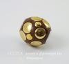 """Бусина """"Индонезийская"""" ручной работы коричневая с золотом, 13-15 мм"""