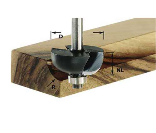 Фреза для изготовления желобка HW S8 D25,5/R6,35 KL Festool 491018