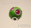 """Бусина """"Индонезийская"""" ручной работы зеленая с розовыми стразами, 18х16 мм"""