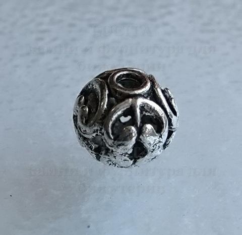 """Бусина металлическая """"Ажурная"""" (цвет - античное серебро) 11х10 мм ()"""