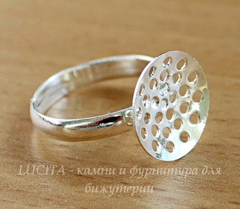 Основа для кольца с площадкой 14 мм (цвет - серебро)