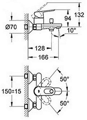 Grohe BauLoop Набор смеситель для раковины, смеситель для ванны, душевой гарнитур (118105)