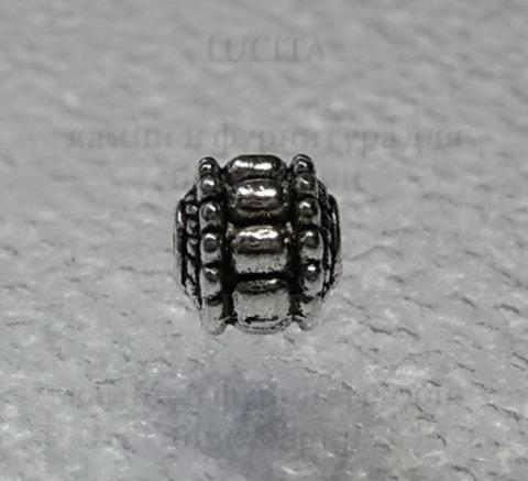 Бусина металлическая, шарик с узором (цвет - античное серебро) 7х7 мм ()
