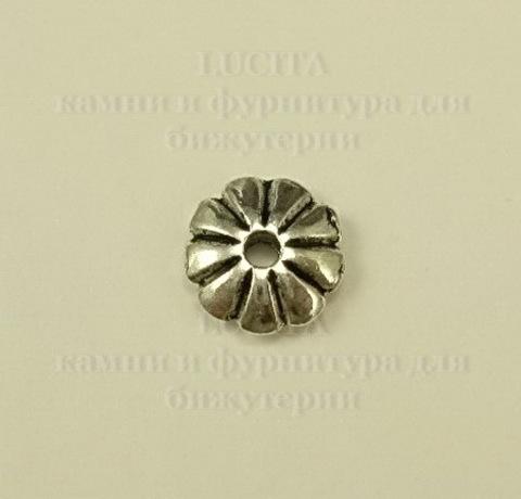 Бусина металлическая - рондель (цвет - античное серебро) 7х2 мм, 10 штук