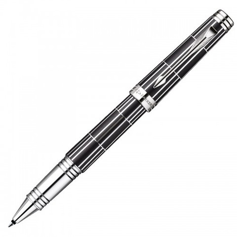Купить Ручка-роллер Parker Premier Luxury 2013, T560, цвет: черный и серебристый (Black СT), стержень: чернила черного цвета, 1876392 по доступной цене
