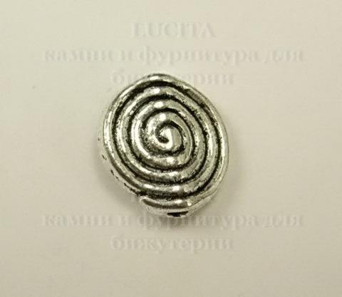 """Бусина металлическая """"Спираль"""" (цвет - античное серебро) 12х11 мм"""