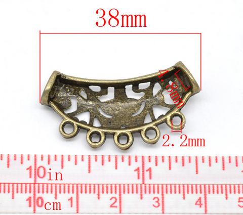 """Коннектор """"Ажурная трубочка"""" (2-5) 38х18 мм (цвет - античная бронза) ()"""