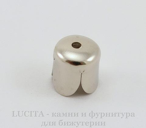 Концевик в виде цветка для шнура 6 мм, 8х7 мм (цвет - античное серебро), 10 штук ()