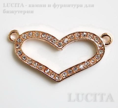 """Коннектор """"Сердце"""" (1-1) со стразами 39х19 мм (цвет - розовое золото)"""
