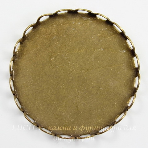 Сеттинг - основа для камеи или кабошона 25 мм (оксид латуни) ()