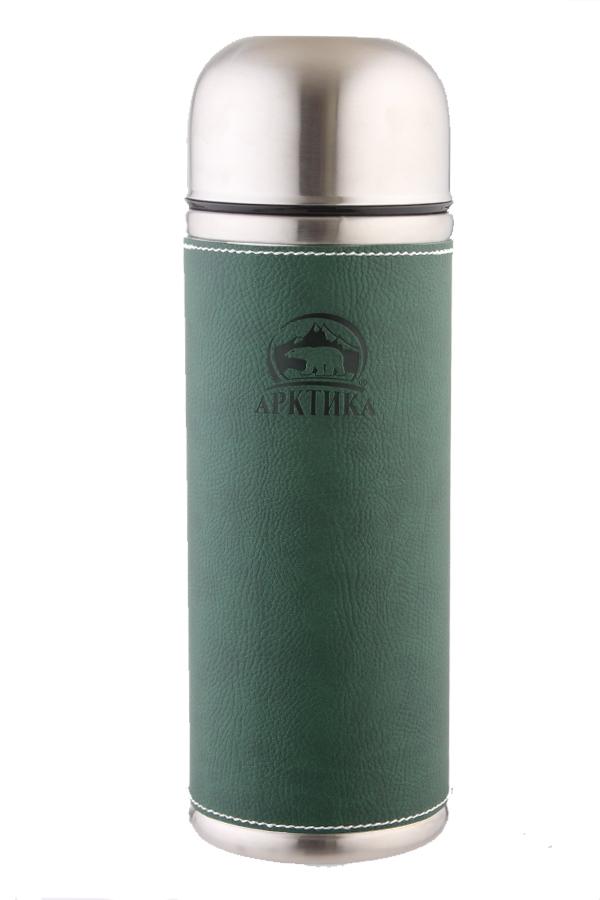 Термос Арктика (1 л.) с узким горлом, зеленый, кожаная вставка