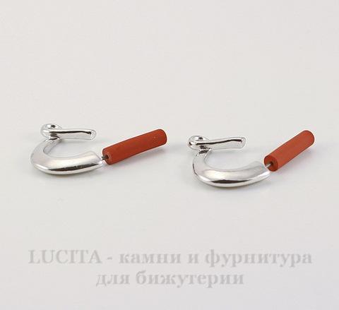 """Пуссеты - гвоздики TierraCast """"Петля"""" 19х16 мм (цвет-платина)(без заглушек), пара"""