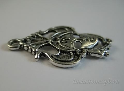"Подвеска ""Маска"" (цвет - античное серебро) 31х21 мм ()"