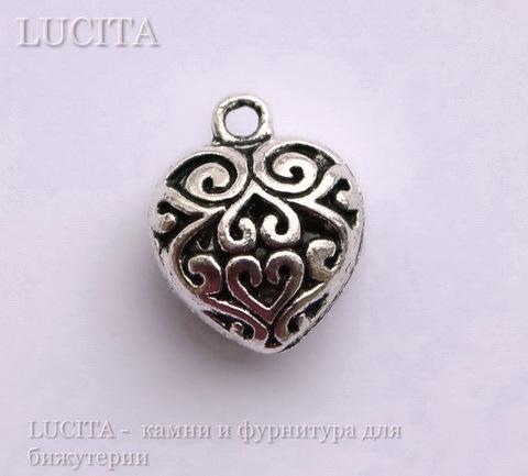 "Подвеска ""Ажурное сердце"" 16х13 мм (цвет - античное серебро)"