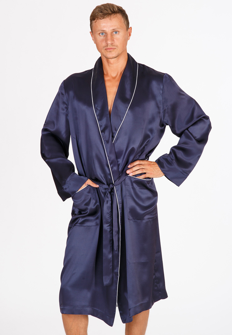 Шелковый мужской халат B&B