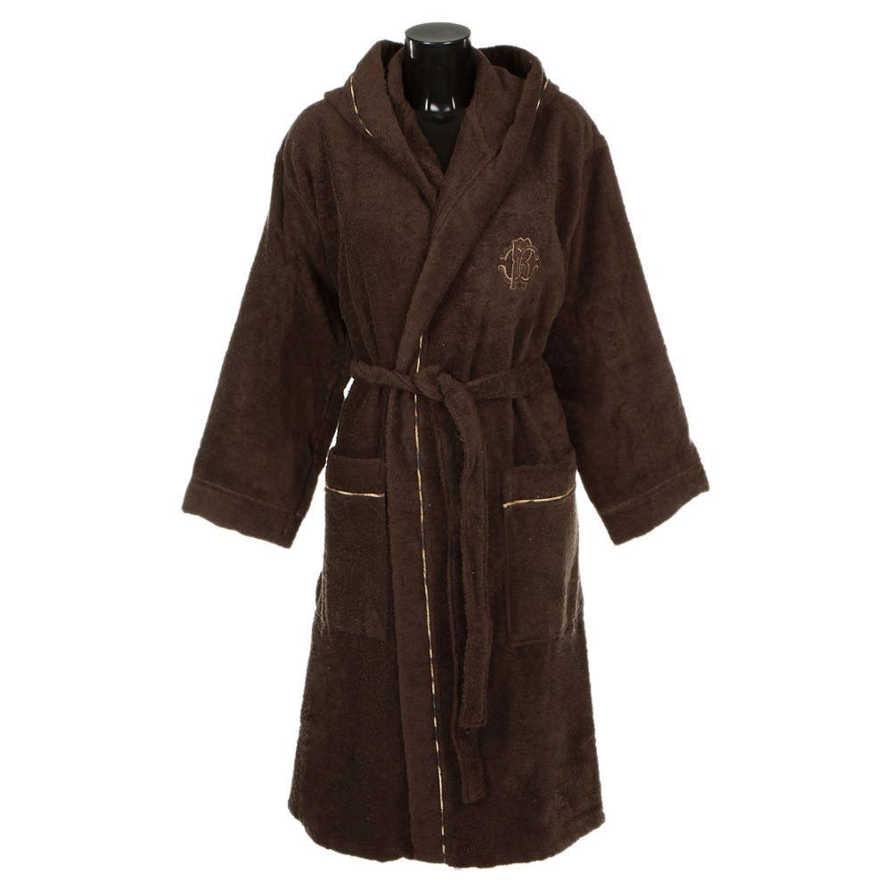 Элитный халат махровый Basic с капюшоном коричневый от Roberto Cavalli