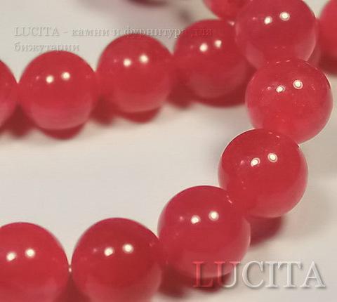Бусина Жадеит (тониров), шарик, цвет - красно-розовый, 10 мм, нить ()