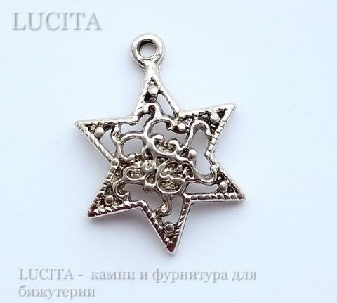 "Подвеска ""Звезда"" (цвет - античное серебро) 24х18 мм ()"