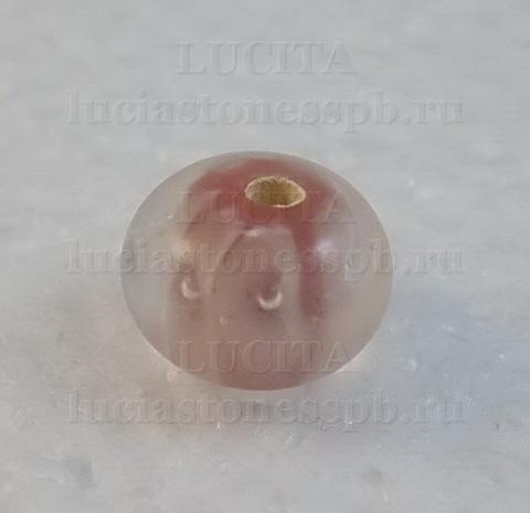 Бусина Лэмпворк рондель, розовая 11-12х8-9 мм ()