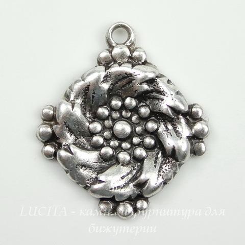 Винтажный декоративный элемент - подвеска 18х16 мм (оксид серебра)