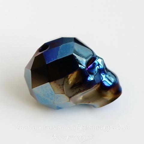 """5750 Бусина """"Череп"""" Сваровски Crystal Metallic Blue 2x 13 мм ()"""