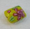 "Бусина Лэмпворк ""подушка"" желтая с розовым 18-19х13-15х8-10 мм"