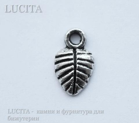 """Подвеска """"Листик""""  (цвет - античное серебро) 10х6 мм , 10 штук"""