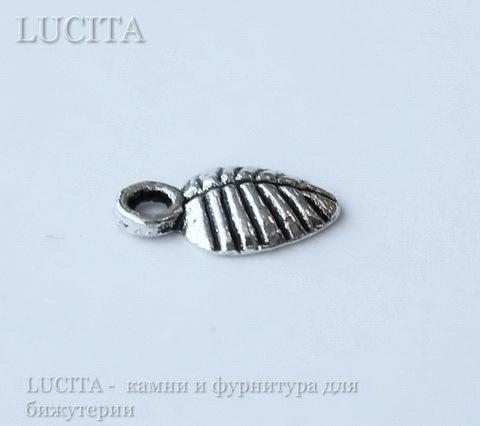 """Подвеска """"Листик"""" 10х6 мм (цвет - античное серебро), 10 штук ()"""