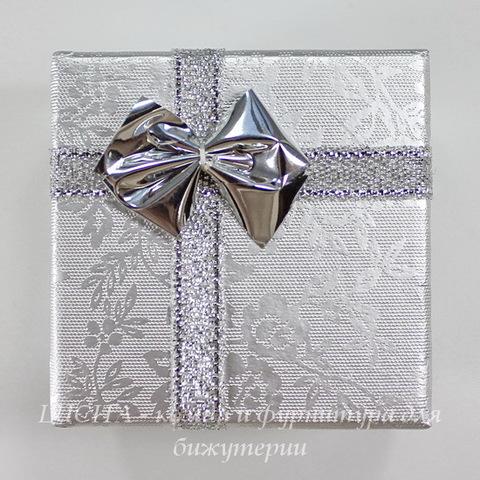 Подарочная коробочка с бантиком (цвет - серебряный), 51х51х34 мм