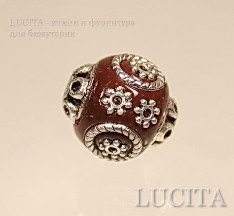 """Бусина """"Индонезийская"""" ручной работы коричневая, 16х15 мм ()"""