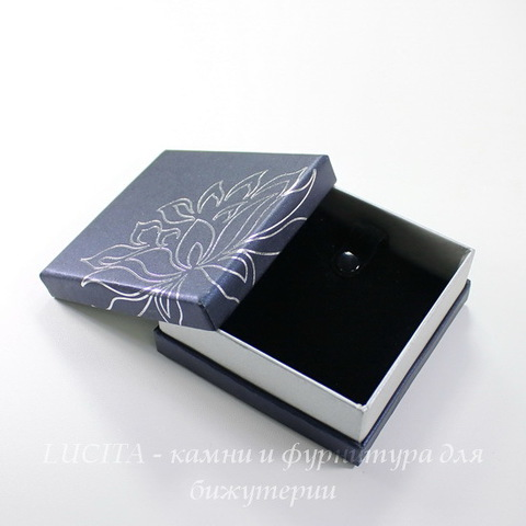 "Подарочная коробочка ""Цветок"" (цвет - темный синий) 90х90х33 мм"