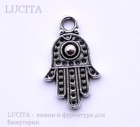 "Подвеска ""Ладонь  Хамса"" (цвет- античное серебро) 20х12 мм ()"