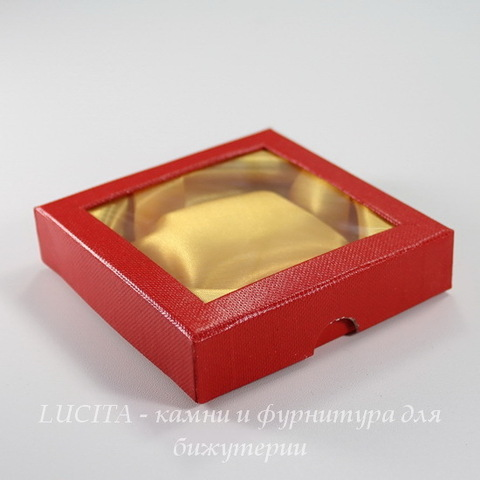Подарочная коробочка (цвет - красный), 89х89х21 мм
