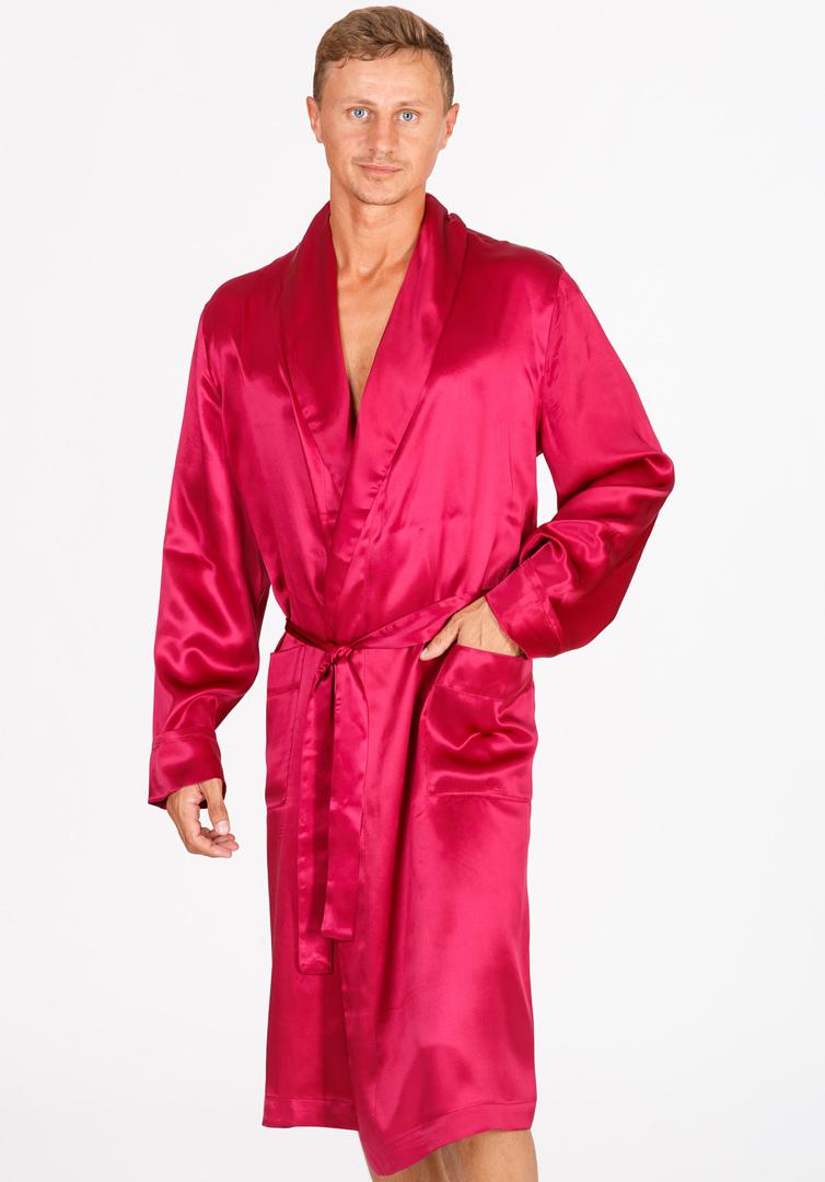 Бордовый халат из шелка B&B