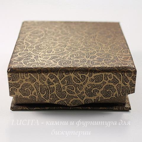 """Подарочная коробочка с магнитом """" Узоры"""" (цвет - коричневый), 79х72х27 мм"""