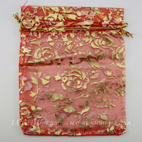 """Подарочный мешочек из органзы """"Золотые розы"""", цвет - красный, 14х11 см"""