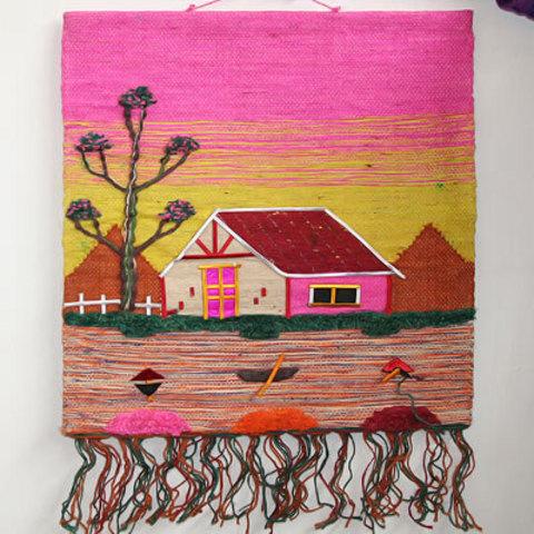 Коврик из джута (розовый фон)