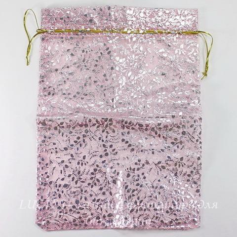 """Подарочный мешочек из органзы """"Серебристые веточки"""", цвет - розовый, 25х18 см"""