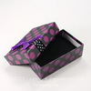 Подарочная коробочка с бантиком (цвет - черный в фиолетовый горошек), 79х50х26 мм