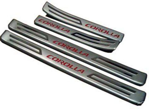 Светящиеся накладки порогов Toyota Corolla 02 - 05 (red light)