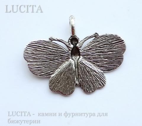 "Подвеска ""Бабочка"" (цвет - античное серебро) 40х30 мм ()"