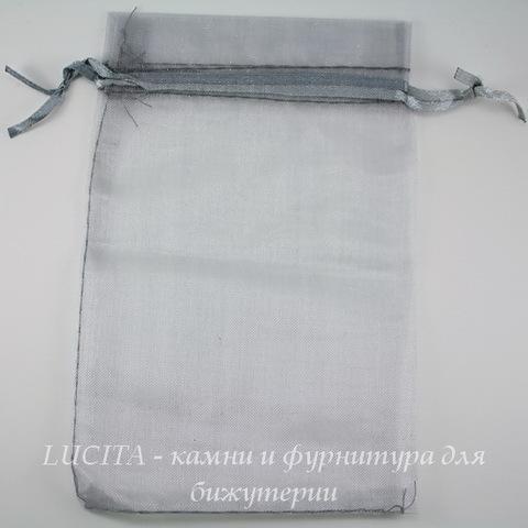 Подарочный мешочек из органзы серый, 15х10 см