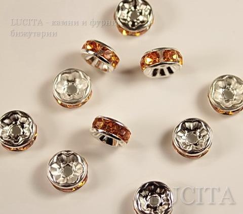 Бусина - рондель 8х4 мм с оранжевыми фианитами (цвет - серебро ), 5 штук ()