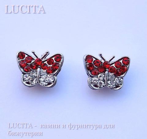 """Разделитель """"Бабочка"""" с красными стразами (цвет - античное серебро) 13х10х6 мм ()"""