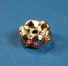 Бусина - рондель с фианитами с AB-покрытием (цвет - серебро ) 8х4 мм, 5 штук ()