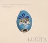 """Бусина """"Индонезийская"""" ручной работы голубая, овальная плоская, 21х16х10 мм ()"""