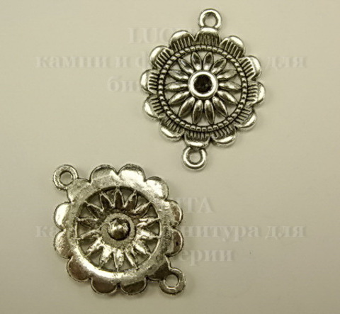 Коннектор - цветок  (цвет - античное серебро) (1-1) 29х22 мм ()