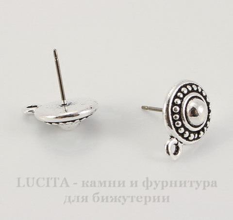 """Пуссеты - гвоздики TierraCast """"Жемчужина"""" 15х11 мм (цвет-античное серебро)(без заглушек), пара"""