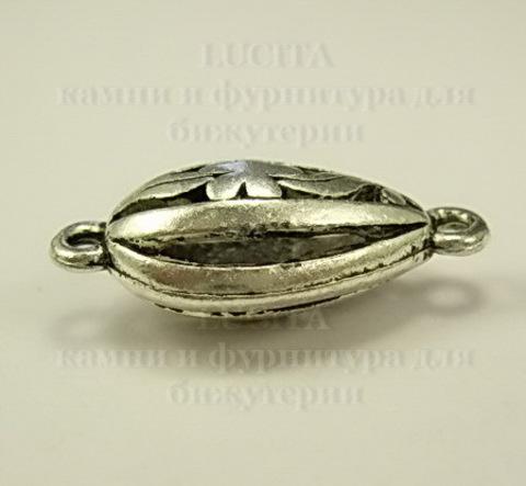 Коннектор филигранный с цветочком (1-1) 27х12 мм (цвет- античное серебро) ()
